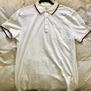 J. Crew White Polo Blue/Red Trimmed Size: Large